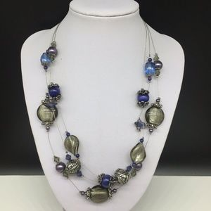 Chico's Blue Gray Art Glass Beaded Necklace
